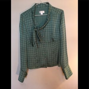 Ann Taylor LOFT teal v-neck long sleeved blouse
